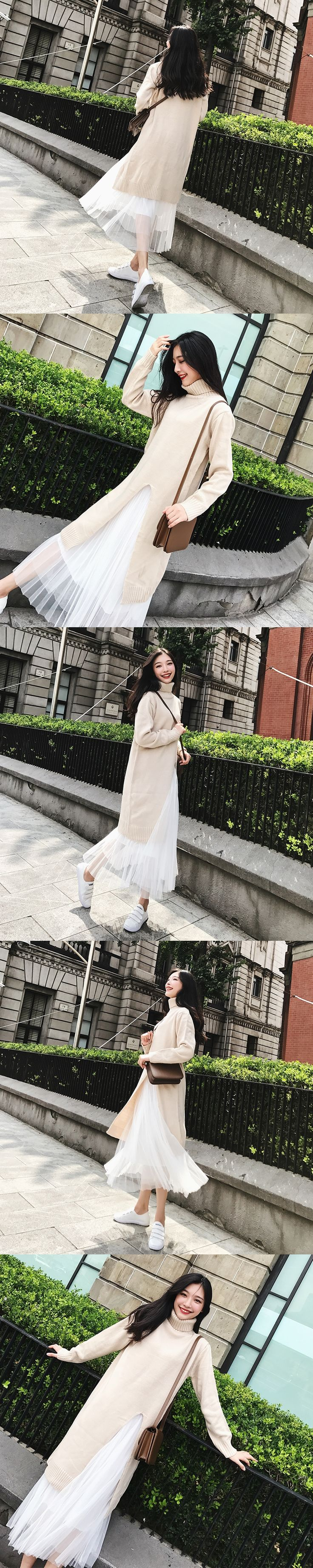 Fashion Women Turtleneck Long Sleeved Sweater + Pleated Skirt Two Piece Set Female Knitted Long Dress Tulle Skirts Girl Suit
