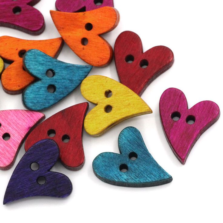"""100PCs Wood Sewing Buttons Scrapbooking Heart Love 2 Holes Mixed 7/8""""x 5/8"""""""