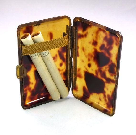 vintage faux tortoiseshell tortoise shell cigarette case