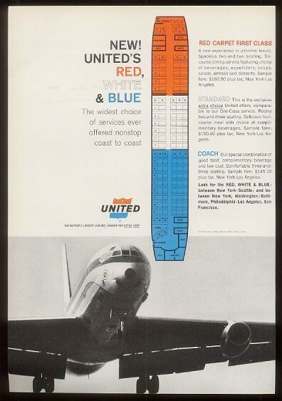 United Airlines DC-8 Advert with Seating Chart 1964