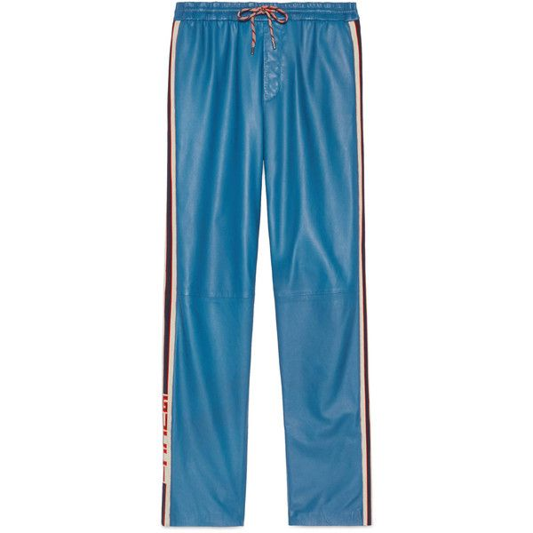 Gucci Leather Jogging Pant (€2.570) ❤ liked on Polyvore featuring men's fashion, men's clothing, men's activewear, men's activewear pants, blue and gucci