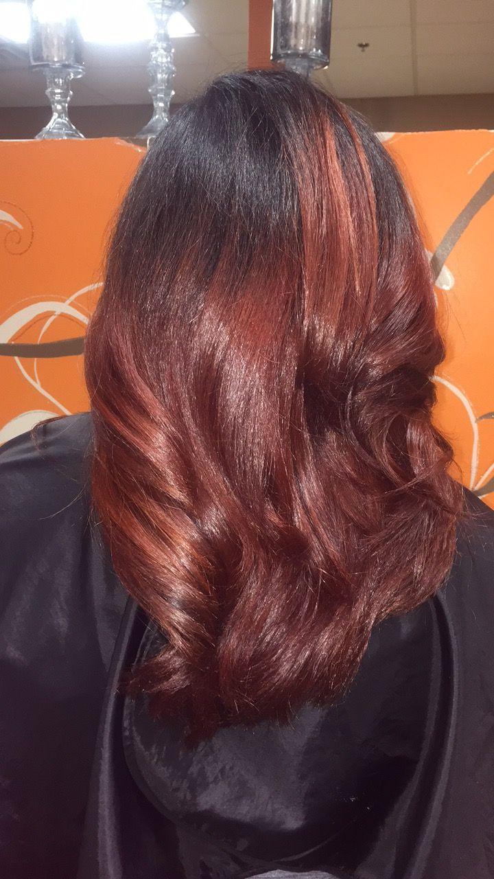 Fall auburn hair color silk pressed