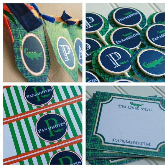 Preppy Alligator Birthday Party Package  by HandmadePartyCo
