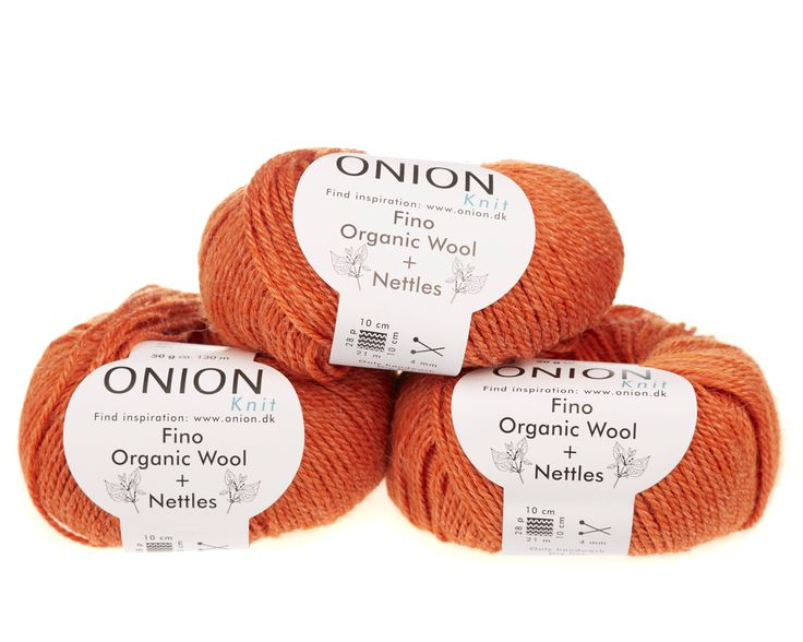 Orange V815 - No. 4 - Fin økologisk uld med nældefibre - Onion - Strikkepinden - Nøgler á 50 gram