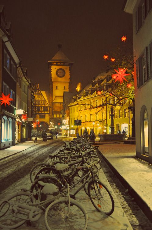 Christmas time with bicycles and snow in Freiburg, Germany