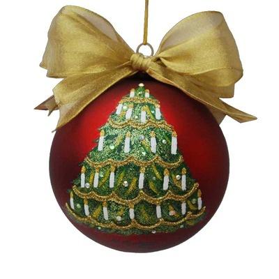 Kurt Adler Sarabella Glass Christmas Tree with Candles Ball Ornament