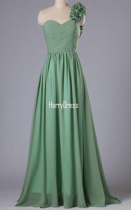 Green Inexpensive Chiffon Sweep Train Flowers One Shoulder Bridesmaid Dress