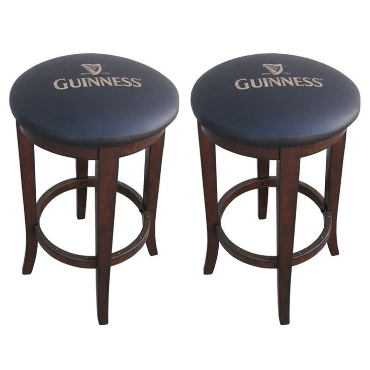 Enhance your seating group with the sophisticated Guinness Set of 2 Bar Stools. Constructed from sturdy Asian hardwood, these chairs are displayed in a distressed walnut finish. The seats and back are padded for comfort and covered in black fabric. Guinness Set of 2 Bar Stools | Weekends Only Furniture and Mattress