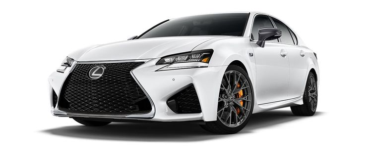 """2017 GS F   in Ultra White with 19-inch split-10-spoke forged alloy wheels<span class='tooltip-trigger disclaimer' data-disclaimers='[{""""code"""":""""TIREWEAR5"""",""""isTerms"""":false,""""body"""":""""19-in performance tires are expected to experience greater tire wear than conventional tires.  Tire life may be substantially less than 15,000 miles, depending upon driving conditions.""""}]'><span class='asterisk'>*</span></span>, angle 1"""