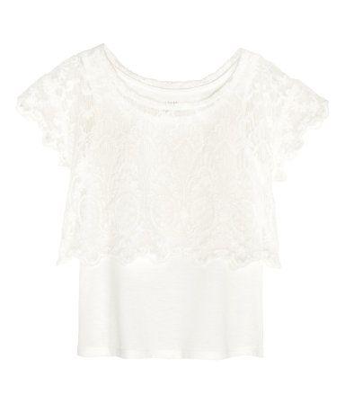 Spitzenshirt mit Top | Weiß | Kids | H&M DE