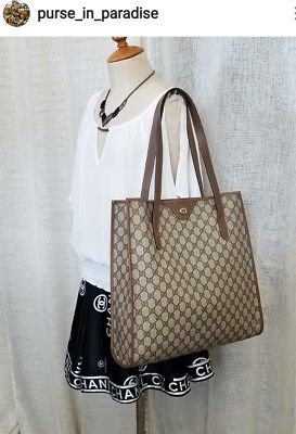 00e71ff6b4e3 Vintage Gucci Tote Shopper Bag Purse Large Big GG Monogram Authentic  Excellent