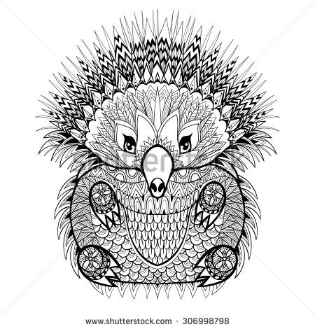 Echidne Australie Hand Drawn Totem Echidna Australian Animal Illustration For Anti Stress Adult Coloring Page