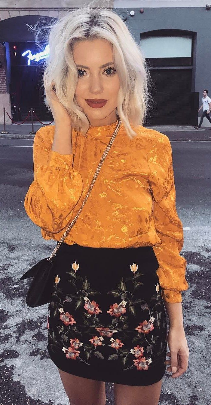 #fall #outfits women's orange turtle-neck long-sleeved shirt and black skirt