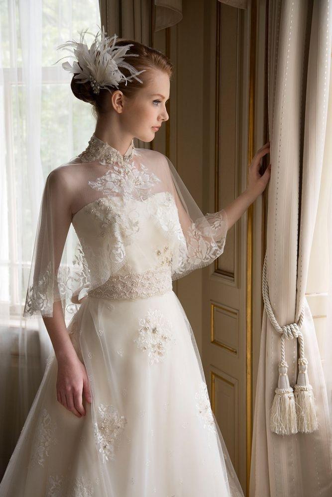 Crystal Beading Wedding Bridal Bolero Jackets Shrugs High Neck Lace White Ivory Ebay Link Bridal Dresses Wedding Gowns Vintage Bridal Capelet