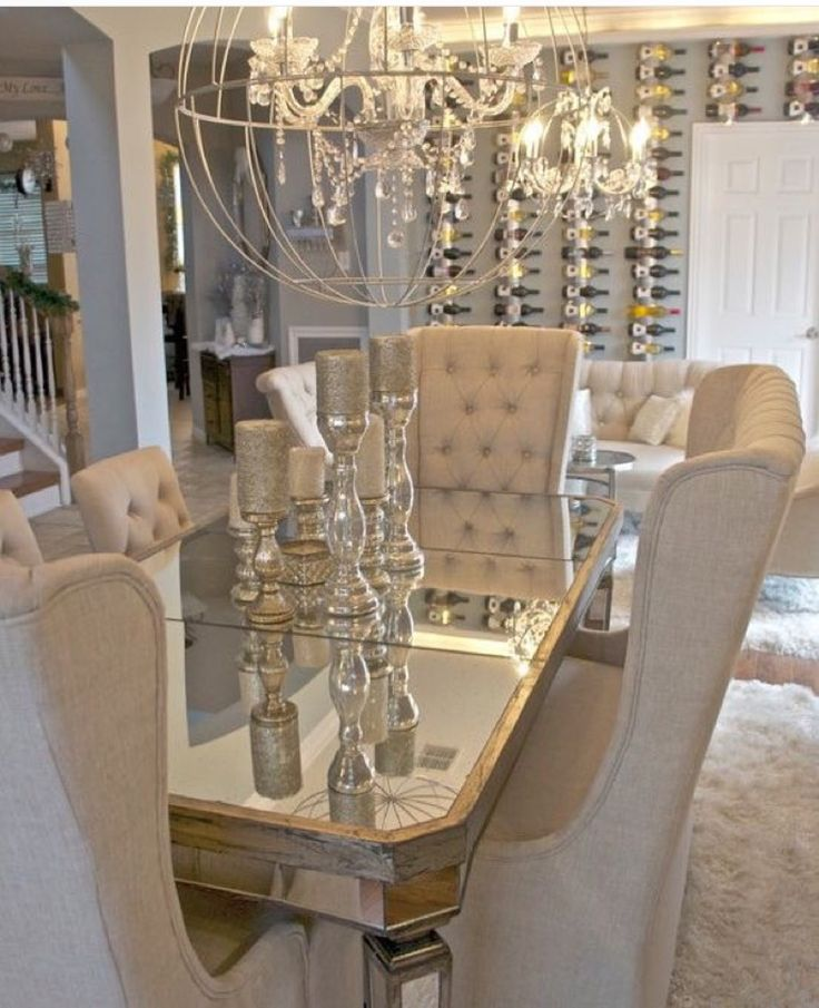 Mirrored Table And Armchair For Dining Room