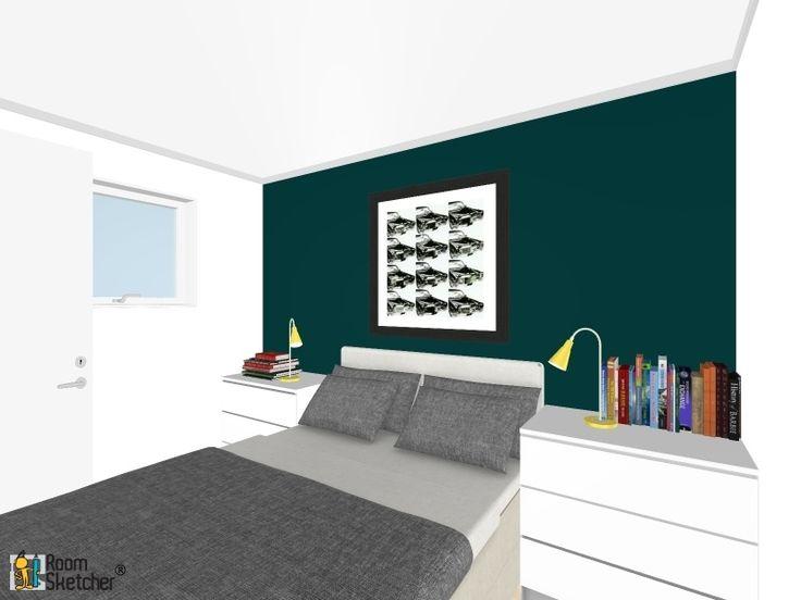 soverom med Oslo blå vegg og kommoder med god lagringsplass. Collage bilder over sengen