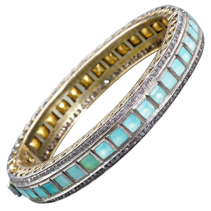 Lorraine Schwartz Green Opal Antique Bangle | From a unique collection of vintage bangles at https://www.1stdibs.com/jewelry/bracelets/bangles/