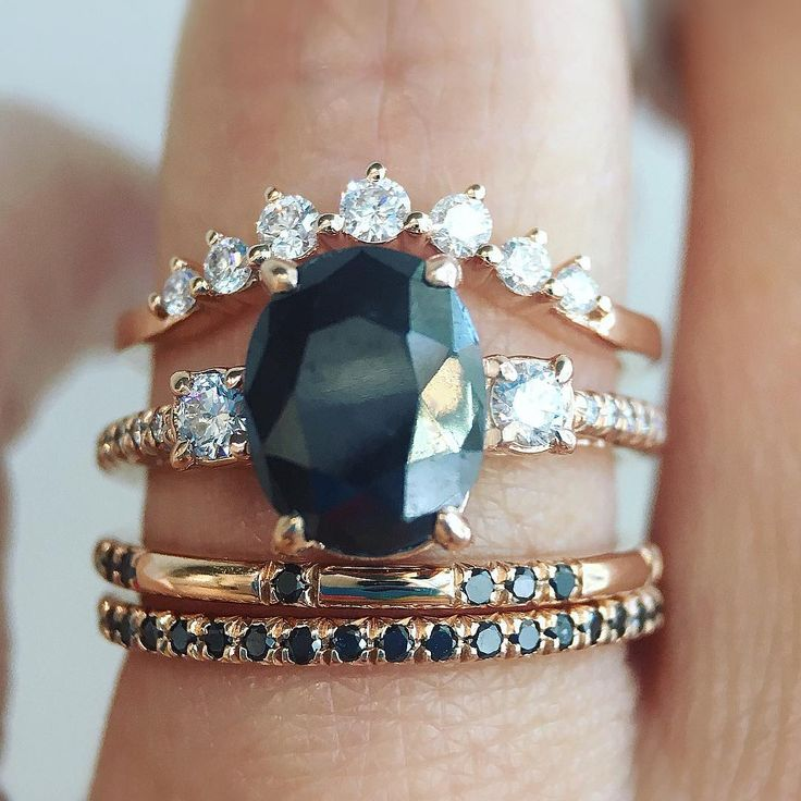 "226 Likes, 3 Comments - Trabert Goldsmiths (@trabertgoldsmiths) on Instagram: ""Black Beauty.   Our 1.70ct oval black diamond Dark Star ring is a glorious centerpiece to this…"""