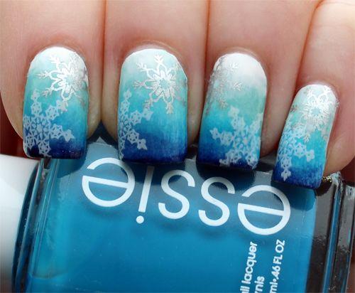 Blue Gradient Snowflake Holiday Nail Art