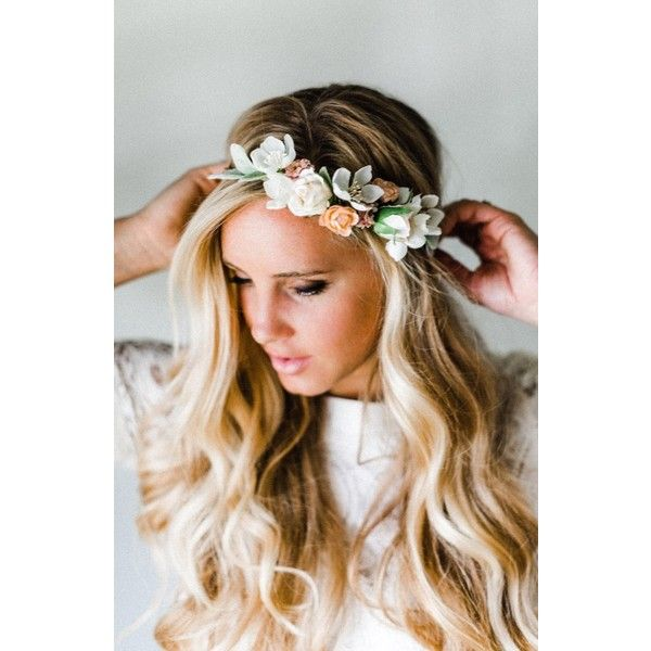 Women's Emily Rose Flower Crowns Neutral Blooms Silk Flower Crown (€225) ❤ liked on Polyvore featuring accessories, hair accessories, hair, hairstyles, flowers, silk leaf garland, long hair accessories, leaf garland, leaf hair accessories and flower garland