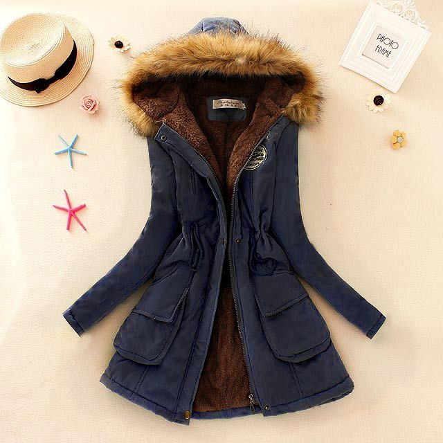Winter Women Coat Parka Casual Outwear Military Hooded Coat Woman Clothes Fur Coats manteau femme Winter Jacket Women