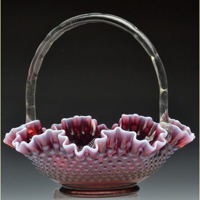 Fenton Large Plum Opalescent Hobnail Basket Made for Levay