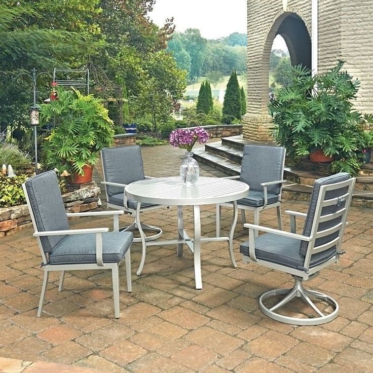 South Beach 5 Pc. Round Outdoor Dining Table with 2 Swivel Rocking Chairs& 2 Arm Chairs by Home Styles