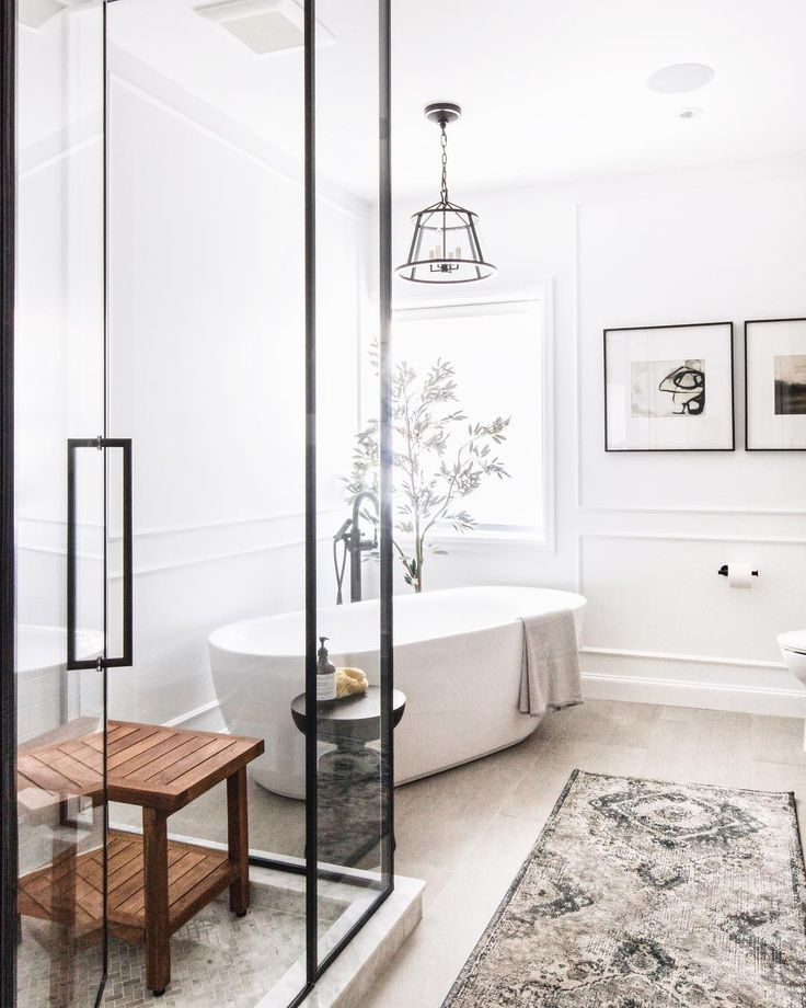 """Leclair Decor on Instagram: """"The angled tub from our #leclairwestmount project ensuite was *slightly* controversial but we love how it turned out! (No pun intended)…"""""""
