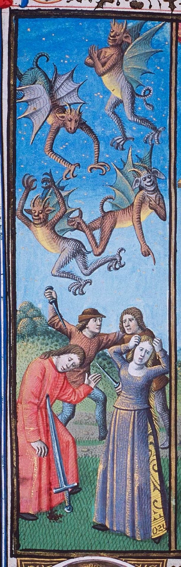 Demons rejoice in the misfortune of mankind, c.1475, The Hague, MMW, 10 A 11. 401v