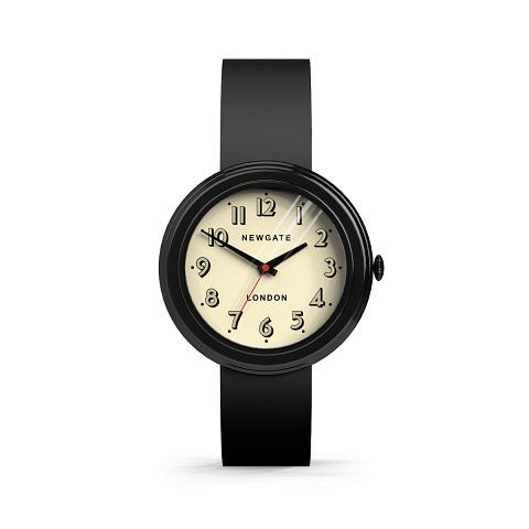 The Corgi watch in Black by Newgate Watches. A retro inspired watch with painted case and matching silicone strap. See the full collection of iconic British timepieces at www.newgatewatches.com.
