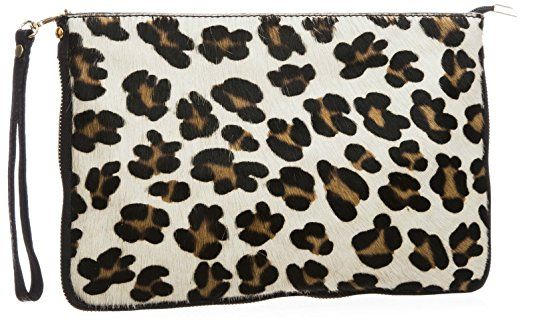 BHBS Femmes Grand Fourrure Véritable Cuir Italien postal Fermeture Fête Soirée Embrayage épaule Sac à Main 30.5x20.5 cm (LxH) (Leopard Big - White)