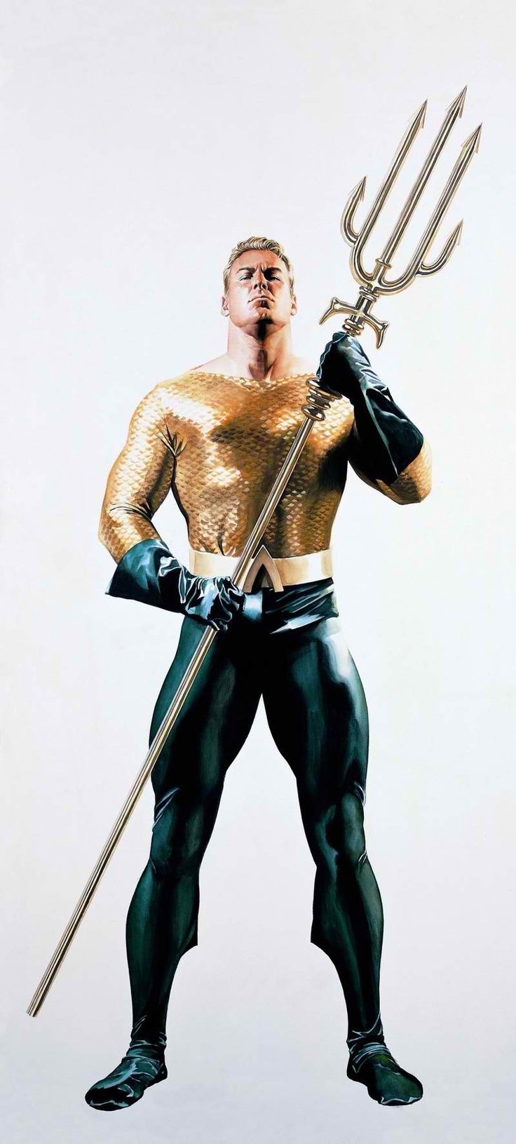 Aquaman from the DC universe by Alex Ross. Here the king of the sea stands tall with his signature trident which he uses to police his kingdom.