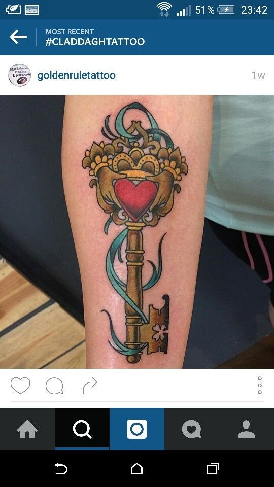 I think this tattoo is stunning! The detail of the clover in the key at the bottom is incredible. I love this tattoo but id like to see it without colour. #claddagh #key #fourleaf #clover #celtic #luck #loyalty #love #friendship #newbeginnings #tattoos