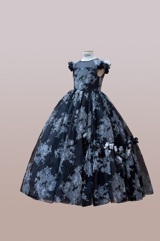 #handmade #embroidery. #couture #hautecouture #kids #dress #luxury #exclusive #limited #highfashion #fashion #Bibiona #black