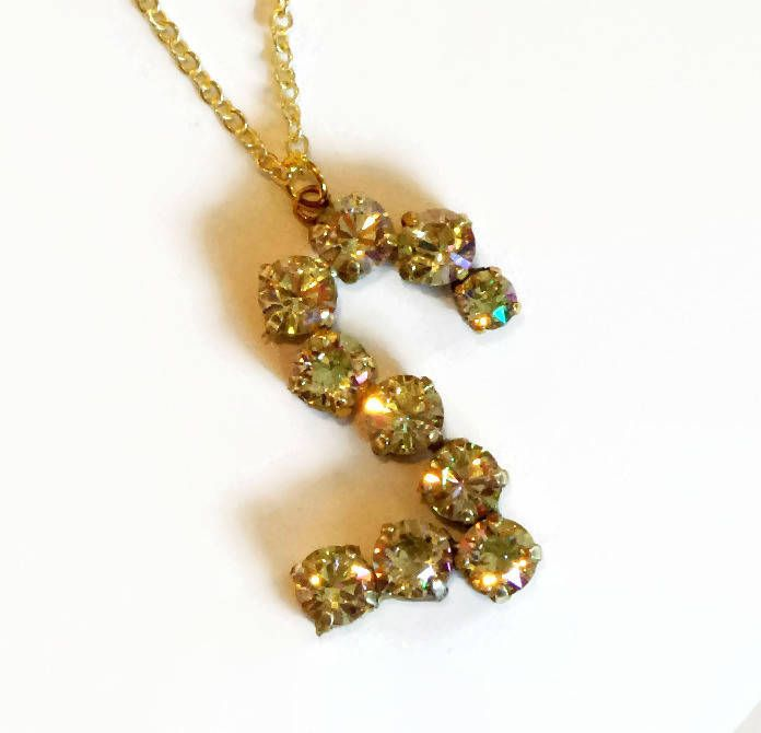 Sparkling  Swarovski crystal number TWO pendant necklace 8mm fancy stones ,gorgeous luminous green by CrystallizedByLena on Etsy