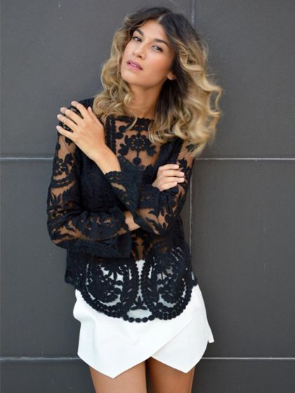Black Crochet Lace Long Sleeve Top with Mesh Panel | Choies 57% OFF HERE