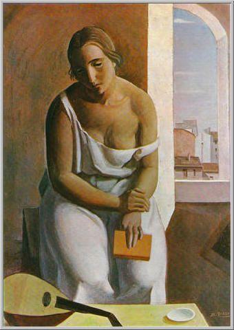 Mario Tozzi: 1927 Donna col Mandolino (Olio su Tela - misure non pervenute - Museo di Mannheim - Arch.1066 - Cat.27/4)