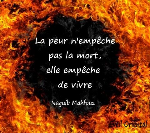 fright does not prevent death, it prevents you from living. Naguib Mahfouz