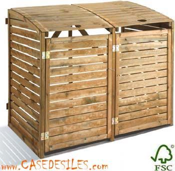 Cache poubelle bois de jardin double 0100034 à Prix Sacrifié