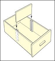 """Drawer Dividers - These plated steel barbed channels make it easy to divide drawer interiors. Just knock into place and slide in a 1/4"""" wood or glass divider. Each channel is 2-1/2"""" long. - bjl"""