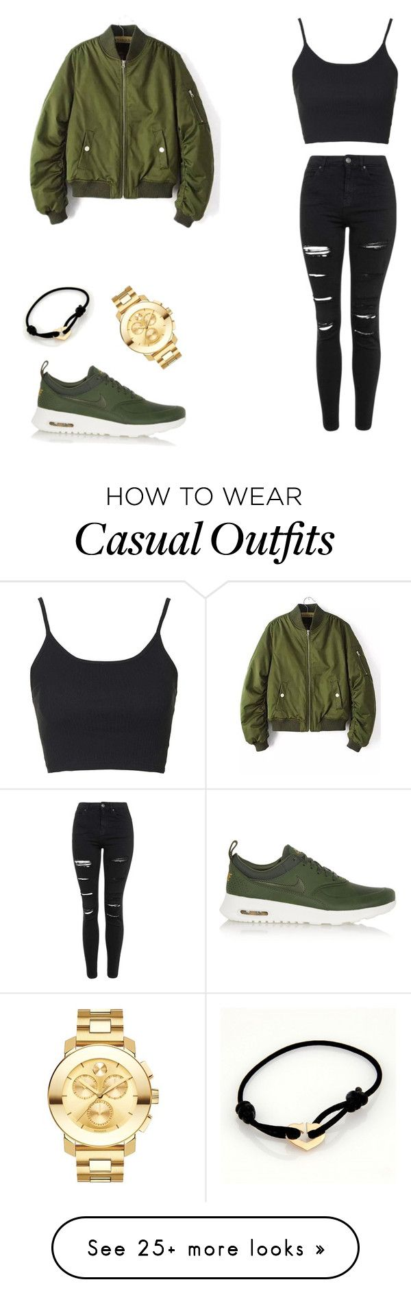 """Casual"" by hashtageleni on Polyvore featuring Topshop, NIKE, Movado, Cartier, women's clothing, women, female, woman, misses and juniors"
