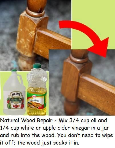 Natural WoodRepair - Mix 3/4 cup oil and 1/4 cup white or apple cider vinegar in a jar and rub into the wood. You don't need to wipe it off; the wood just soaks it in.