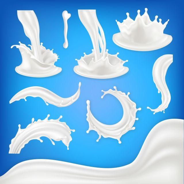 Milk Splash Set Vector White Wave Drop Blots Liquid Food Drink Natural Eco Healthy Product Pouring Product Design Element 3d Realistic Illustration Vector Mil Milk Splash Design Element Creative Poster Design