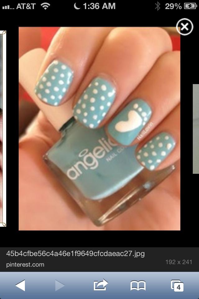 Baby shower nail art nails art nails design color blue tar heels