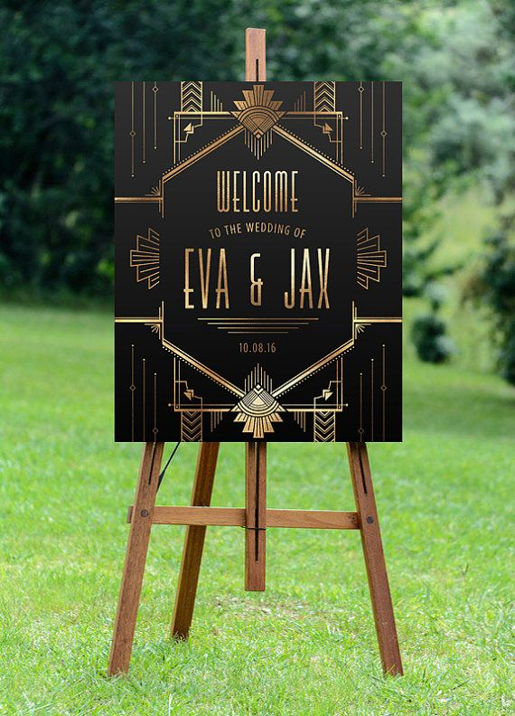 Transport your guests to the roaring twenties with this stunning welcome wedding sign, based on the Art Deco style as seen in the Great Gatsby! This sign design features a gold foil texture, contrasting background, and line pattern techniques from the art deco period.  INCLUDED:  This listing is for a custom PRINTABLE, DIGITAL, high-resolution wedding sign. You will not receive any printed items.  Customization is only available for wording and colors only. Layout cannot be altered. Please…