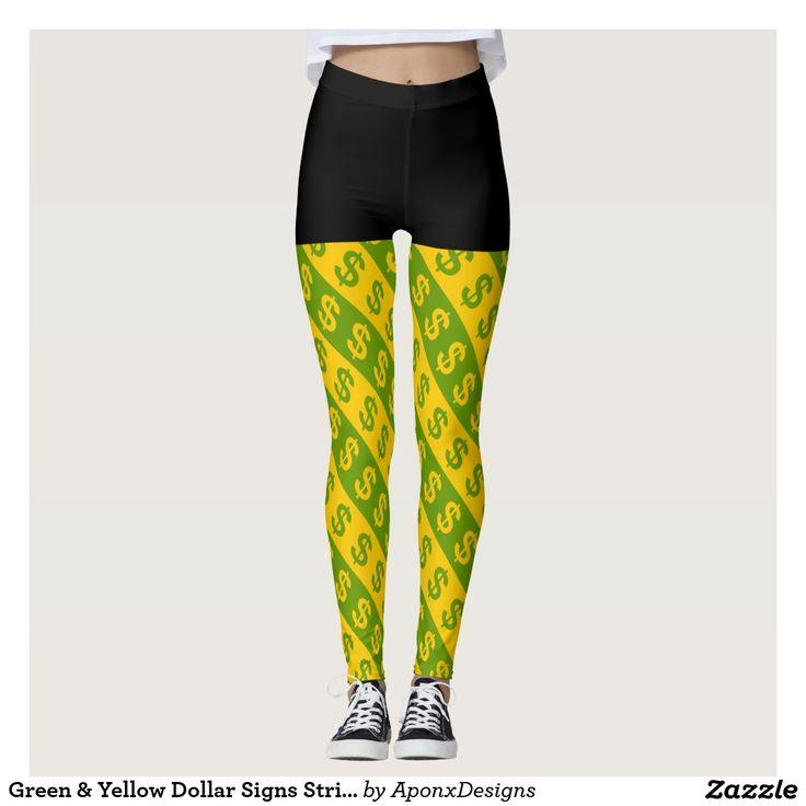 Green & Yellow Dollar Signs Striped Pattern