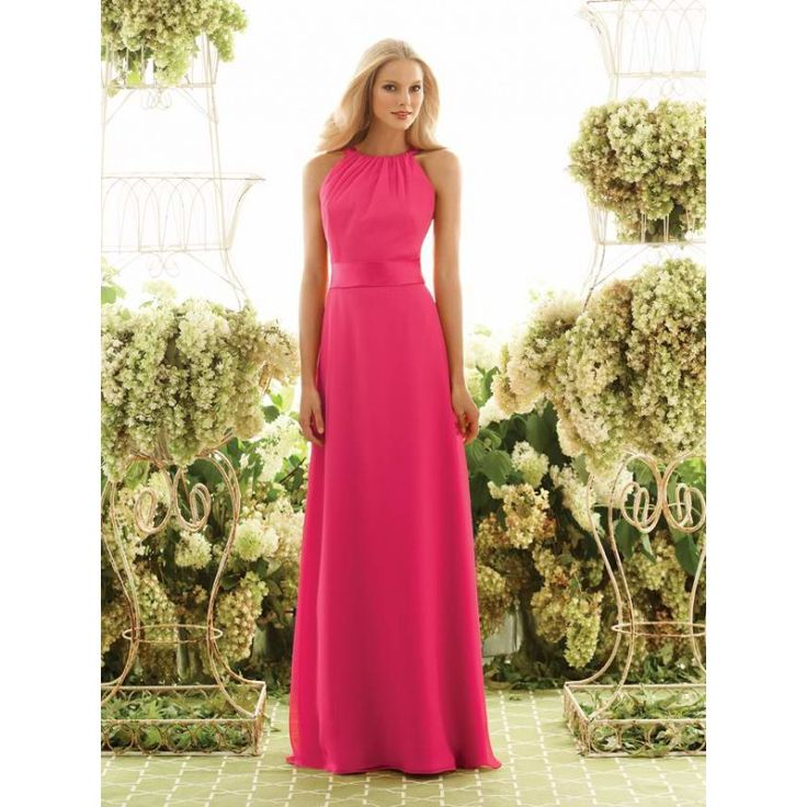 chiffon formal dresses fushia | Fuschia Chiffon Long Halter Bridesmaid Dress hibmal7