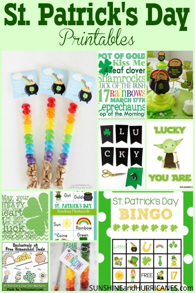 Looking for fun and free printables to celebrate St. Patrick's Day? Treat bags, games, learning worksheets, coloring pages, and even home decor ideas to get your green on for St. Patty's Day! Ideas for teachers, parents, and even the office! St. Patrick's Day Printables for all!