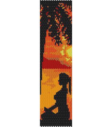 Zen, Yoga al tramonto con palma, foto silhouette ( 2 PDF,  schema PEYOTE e schema per telaio/LOOM per realizzare bracciali o segnalibro) di AntosCreations su Etsy