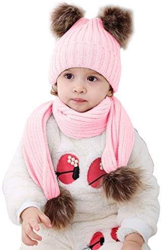 53d08b0d7ed 2pcs Baby Girls Boys Winter Hat Scarf Set